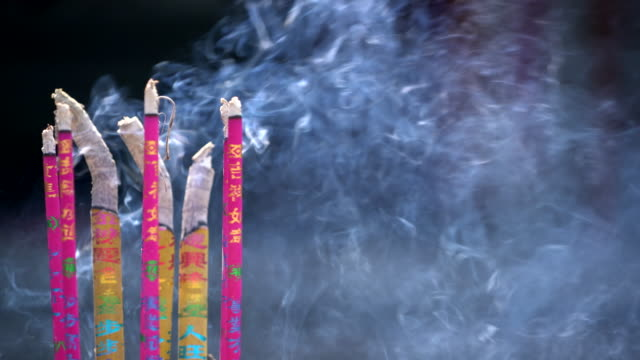 incense smoke in thai temple - patchouli stock videos & royalty-free footage