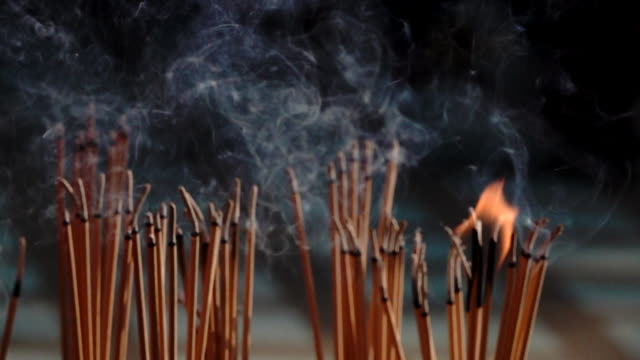 incense smoke thai temple - incense stock videos & royalty-free footage