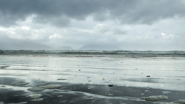 inch beach on dingle peninsula at bad weather - inch stock videos & royalty-free footage