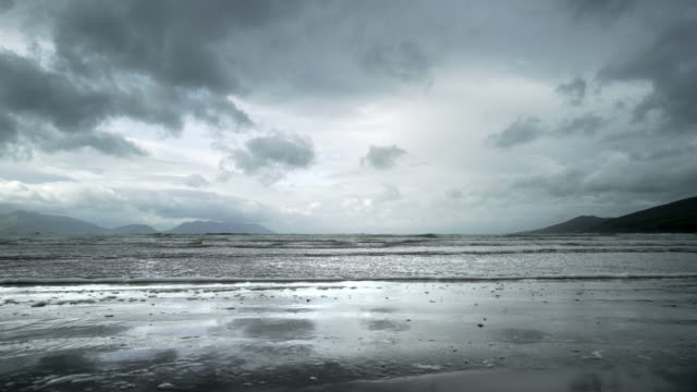 inch beach on dingle peninsula at heavy weather - inch stock videos & royalty-free footage