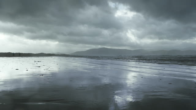 Inch Beach On Dingle Peninsula At Rainy Day