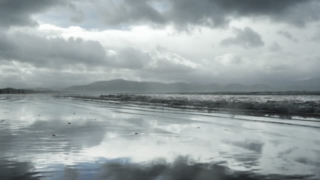 inch beach on dingle peninsula at rainy weather - inch stock videos & royalty-free footage