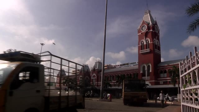 including crowds outside buses autorickshaws and pedestrians the 138yearold building of the railway station one of the most prominent landmarks of... - chennai stock videos & royalty-free footage
