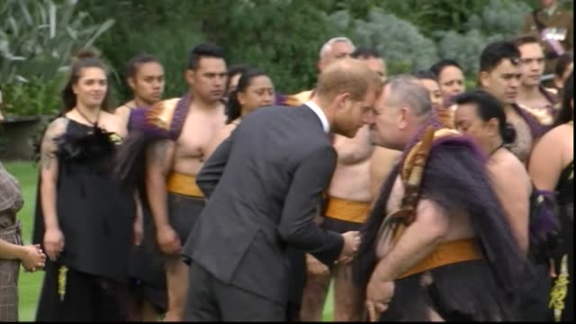 Including Royal couple both hongi with Maori elders from host party