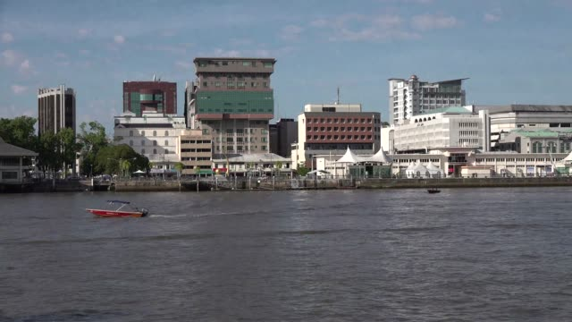 including water village, which is across from downtown. plus flag. - brunei stock videos & royalty-free footage