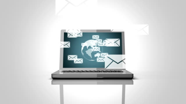 incoming,sending e-mails with notebook animation - columnist stock videos & royalty-free footage