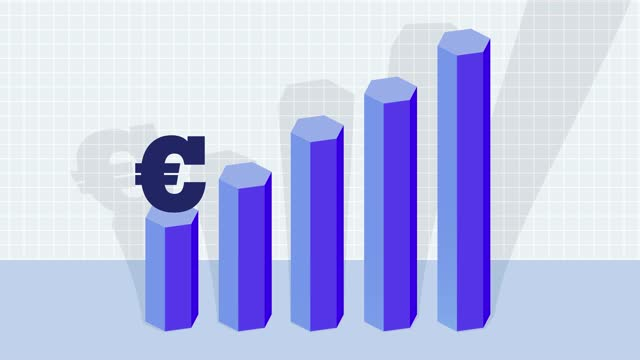 increasing euro currency bar graph, growth - bar graph stock videos & royalty-free footage