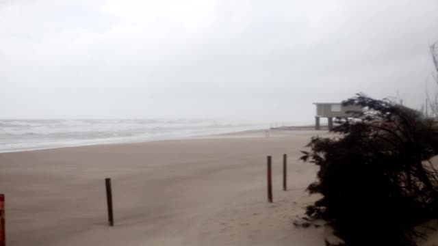increasing waves and wind begin to impact onslow beach as hurricane dorian approaches marine corps base camp lejeune north carolina september 5 2019... - carolina beach stock videos & royalty-free footage