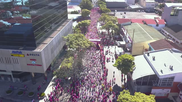 incredible aerial view of the anna ross breast  cancer marathon in costa rica - torso stock videos & royalty-free footage
