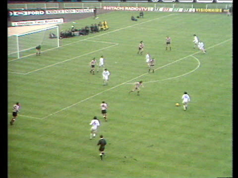 Incredible double save from goalkeeper Jim Montgomery denies diving header from Trevor Cherry and rebound follow up from Peter Lorimer Sunderland vs...