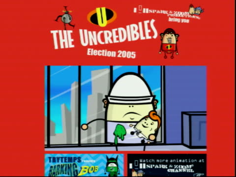 stockvideo's en b-roll-footage met incredibles spoof; england london gir int computer screen showing internet site featuring election satire based on the disney film 'the incredibles'... - satire