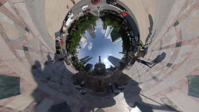 independence angel roundabout in mexico city - 360 grad panorama stock-videos und b-roll-filmmaterial