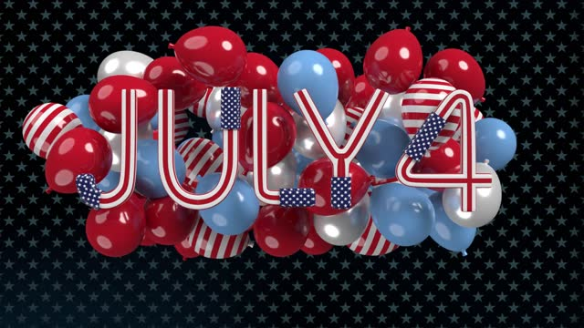 independence day 4th of july letters and balloons on white background in 4k resolution - the alphabet stock videos & royalty-free footage