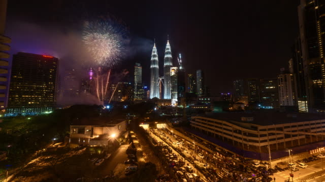 Independence Day Fireworks Time Lapse at Petronas Towers