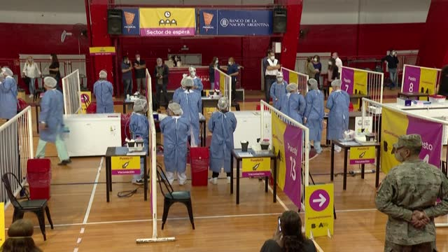 independent healthcare workers receive a dose of the sputnik v vaccine against covid-19 in the river plate stadium in buenos aires, which has been... - sputnik stock videos & royalty-free footage
