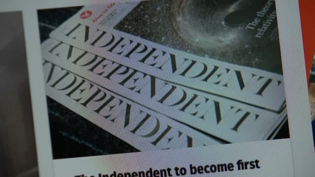 independent newspaper to cease publication after 30 years; close shots computer screen showing story about 'the independent' becoming online only... - publication stock videos & royalty-free footage
