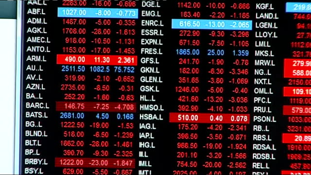 index dealing room; england: london: the city: ig index: int various close shots of traders' computer screens showing stock market prices - mainly in... - red stock videos & royalty-free footage