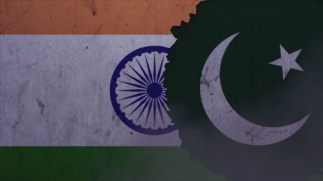 india and pakistan flags on the stone wall stock video - pakistan stock videos & royalty-free footage