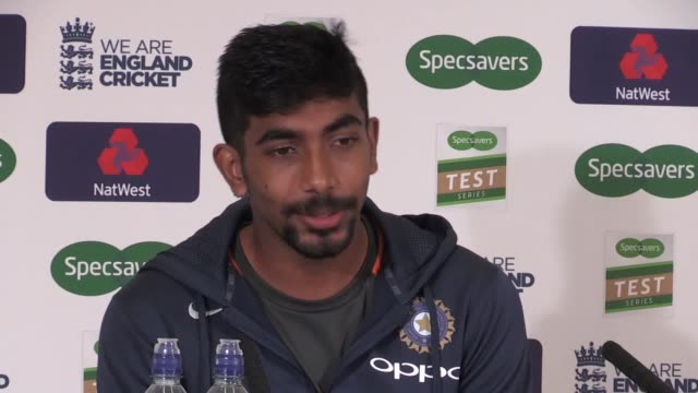 india bowler jasprit bumrah speaks to media after his 585 put his team on the verge of a quick finalday win over england in the third test at trent... - schlußtag stock-videos und b-roll-filmmaterial