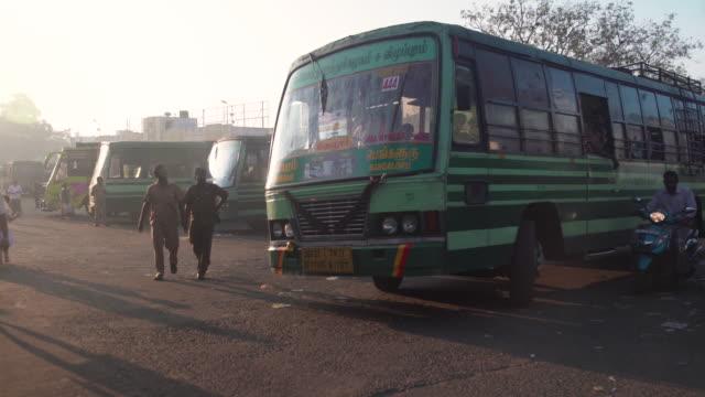 india bus station at kanhcipuram, tamil nadu - station stock videos and b-roll footage