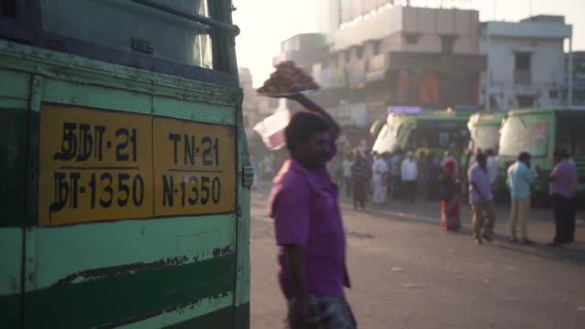 india bus station at kanhcipuram, tamil nadu - establishing shot stock videos & royalty-free footage