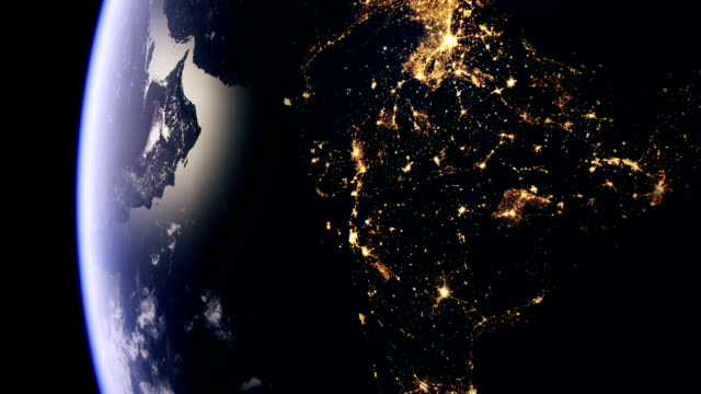 India by night from space