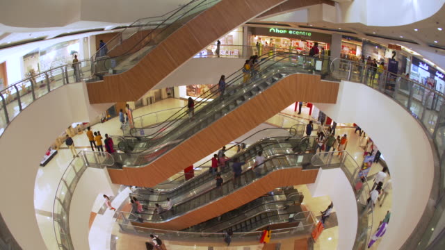 india, capital of telengana state, (andhra pradesh), hyderabad, interior of a modern shopping mall - shopping centre stock videos & royalty-free footage