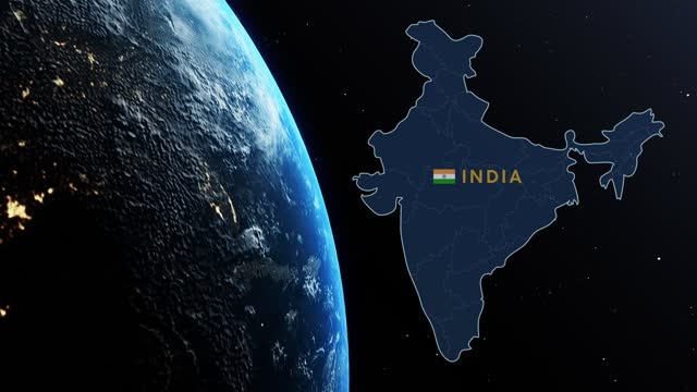 india country map and flag on planet earth while spinning in outer space against black background with stars - india flag stock videos & royalty-free footage