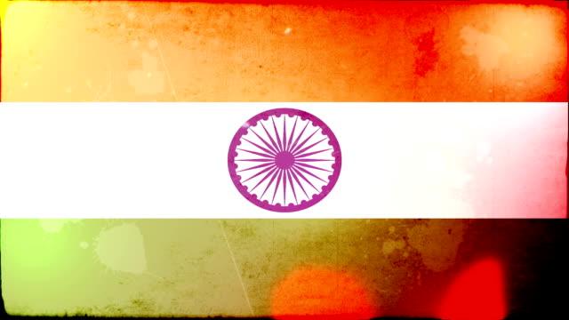 indien mit fahne grunge.  hd - - ausgefranst stock-videos und b-roll-filmmaterial