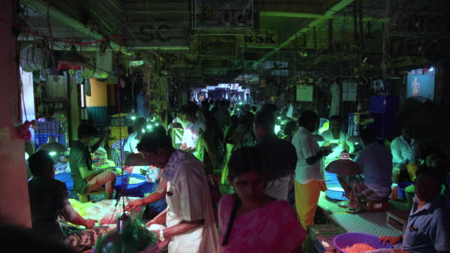 vídeos de stock e filmes b-roll de india flower market full of people - vendedor trabalho no comércio