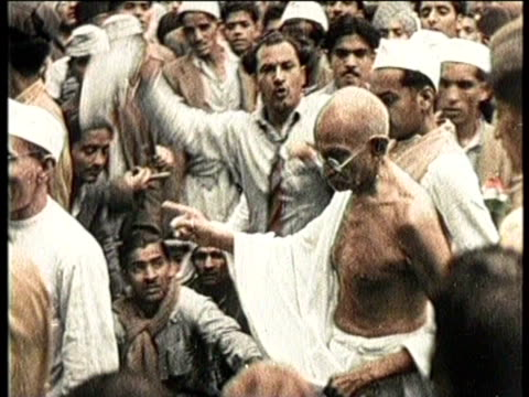 india has been battling for freedom against britain since the 20th century / ghandi is shown promoting independence / - independence stock videos & royalty-free footage