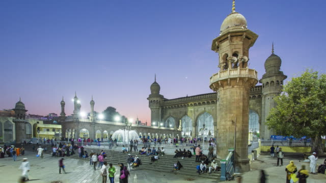 India, Hyderabad, capital of Telangana State, (Andhra Pradesh), Makkah Masjid (Mecca Masjid) Mosque, listed heritage building - time lapse