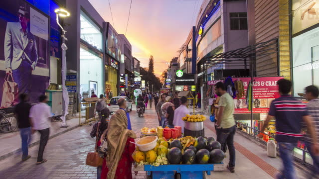 india, karnataka, bangalore (bangaluru), capital of the state of karnataka, busy brigade road shopping street -time lapse - india video stock e b–roll