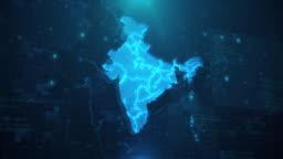 India Map against blue animated background 4k UHD