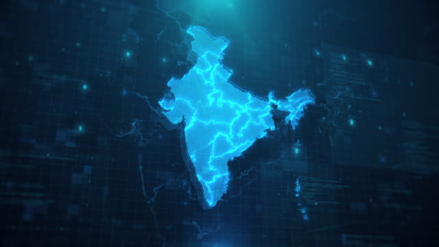 india map against blue animated background 4k uhd - india stock videos & royalty-free footage