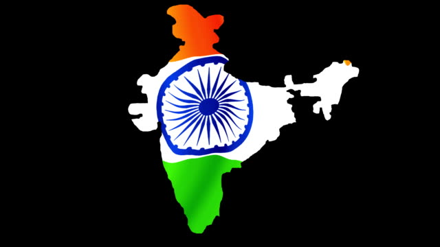 india map and indian flag - flag stock videos & royalty-free footage