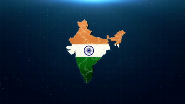 4k india map with national flag - india flag stock videos & royalty-free footage