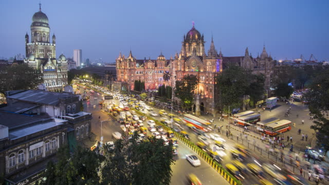 india, mumbai, maharashtra, chhatrapati shivaji maharaj terminus railway station (csmt), (formerly victoria terminus), unesco world heritage site - time lapse - mumbai stock videos & royalty-free footage