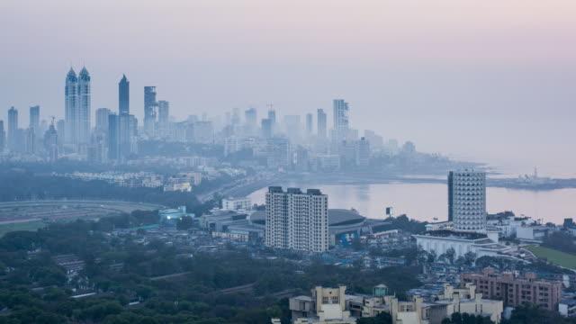 India, Mumbai, Maharashtra, city skyline time lapse of modern office and residential buildings