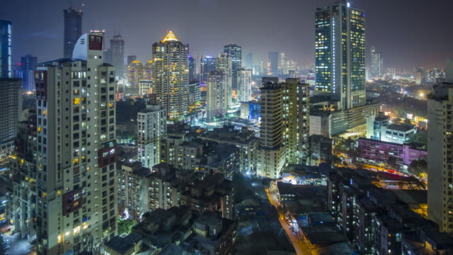 India, Mumbai, Maharashtra, city skyline time lapse of modern office and residential buildings