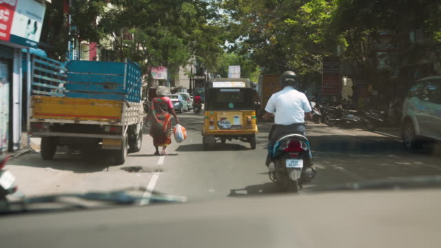 india streets from car point of view - moving process plate stock videos and b-roll footage