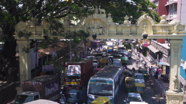 india traffic high angle point of view, bangalore road - bangalore stock videos and b-roll footage