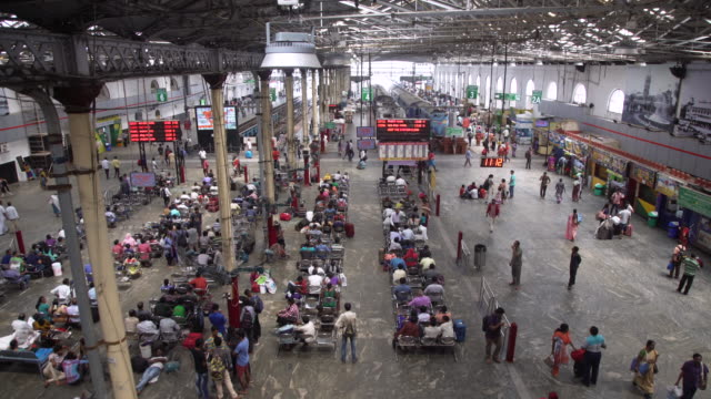 india train station high angle view at bangalore - population explosion stock videos and b-roll footage