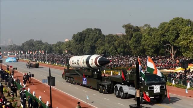stockvideo's en b-roll-footage met india wheeled out a new long range nuclear missile that can hit anywhere in china and warned rival pakistan not to take its friendship for granted as... - raket wapen