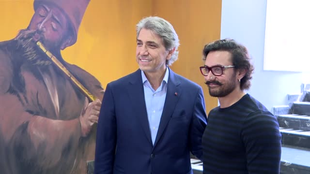 Indian actor Aamir Khan accompanied by Fatih Municipality Mayor Mustafa Demir visits Sulukule Art Academy in Fatih district of Istanbul Turkey on...