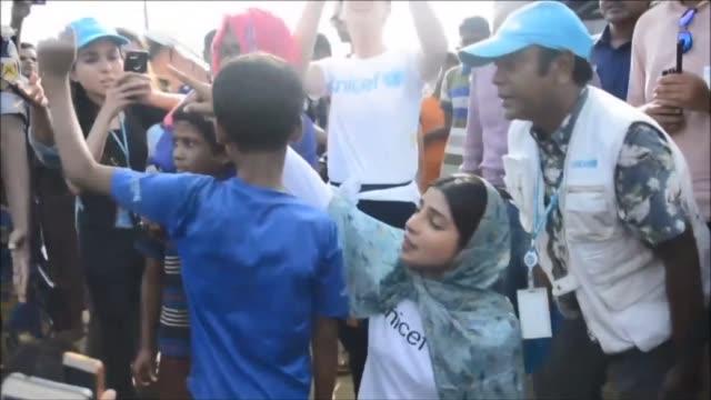 Indian actress and UNICEF Goodwill Ambassador Priyanka Chopra visits a Rohingya camp in Bangladesh