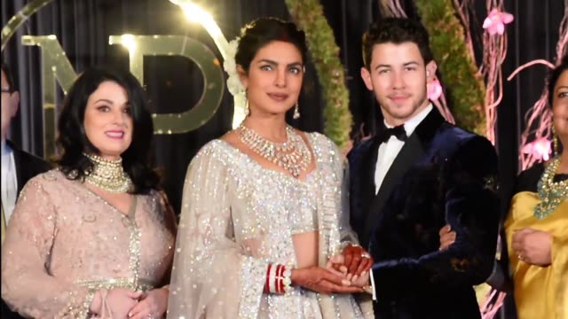 Indian actress Priyanka Chopra and US musician Nick Jonas who were recently married hold a reception in New Delhi