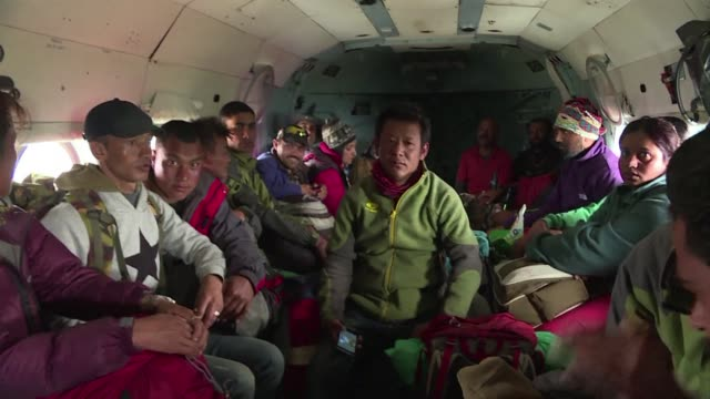 indian air force helicopter escort 22 indian and nepalese trekkers who were stuck back to kathmandu - kathmandu stock videos & royalty-free footage