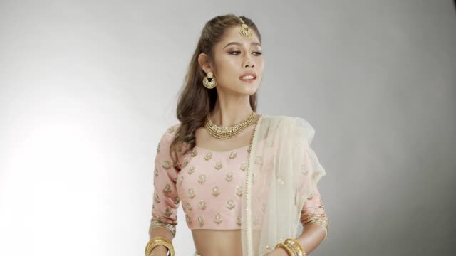 indian beauty face perfect make up wedding bride, portrait beautiful woman - bride stock videos & royalty-free footage