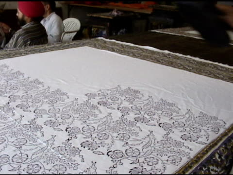 indian block printing on textile - block shape stock videos & royalty-free footage